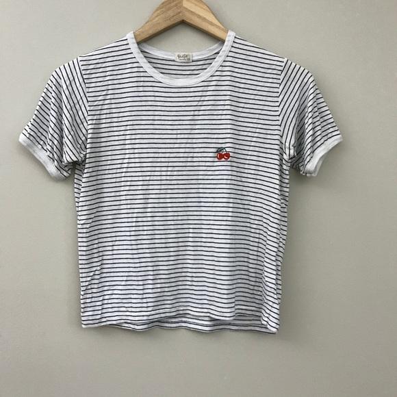 966c64498ea Brandy Melville Tops - John Galt Striped Crop Top T Shirt Cherries O/S A7